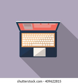 laptop icon. Flat design style modern vector illustration. Isolated on stylish color background. Flat long shadow icon. Elements in flat design.