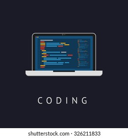 Laptop icon. Flat design. Vector illustration. Web developer coding concept.