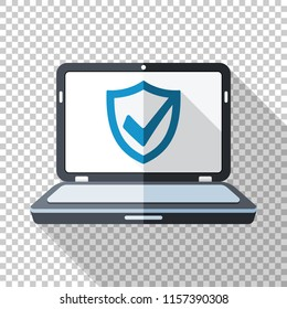 Laptop icon in flat style with security shield on the screen and long shadow on transparent background