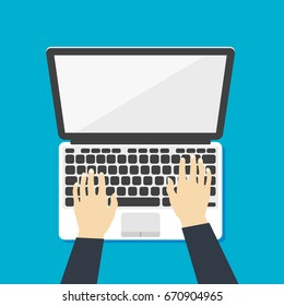 Laptop icon with hands vector illustration