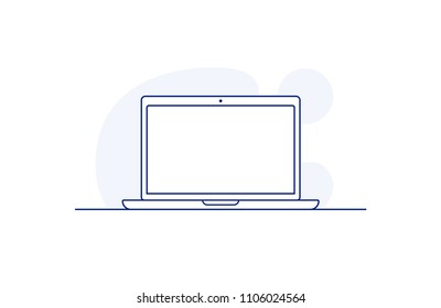 Laptop icon in line art style. Vector