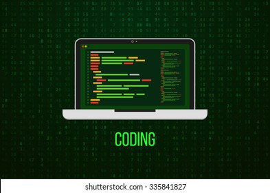 Laptop Icon on Matrix Background. Flat design. Vector illustration. Web developer coding concept.