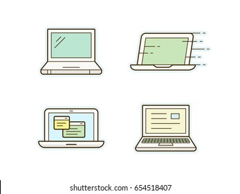 Laptop icon set. Clean and simple laptop icons. Vector illustration.