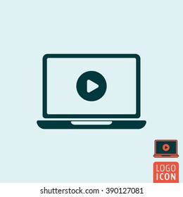 Laptop icon. Laptop with video player icon isolated. Play button symbol. Vector illustration