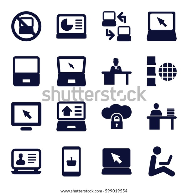 laptop icons set. Set of 16 laptop filled icons such as man working at the table, chart on display, display, online shopping, cloud protection