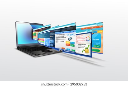 Laptop with illustration of  template website.vector