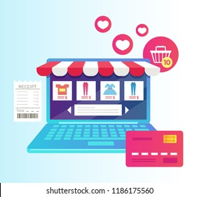 Laptop with internet shopping showcase store screen. Online virtual purchase retail e-commerce business. Vector flat cartoon isolated graphic design illustration