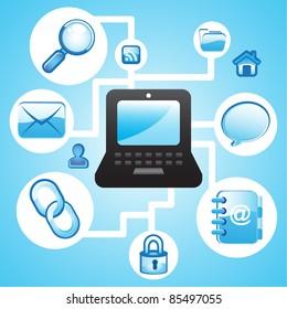 Laptop internet wireless communication concept background