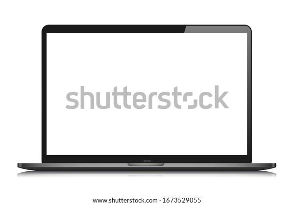 laptop isolate blank screen display mockup pc vector