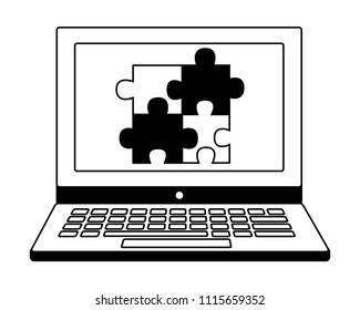 laptop with jigsaw puzzle pieces