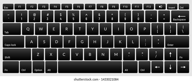 Laptop keyboard computer isolated black key button board for digital pc.