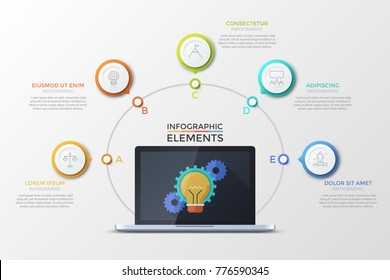 Laptop with light bulb and gear wheels on screen surrounded by 5 colorful round elements with thin line icons inside. Concept of five successive steps of project development. Vector illustration.