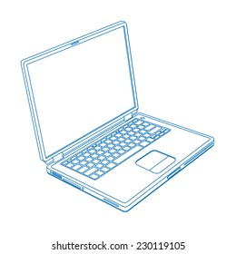 laptop line drawing, vector
