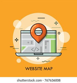 Laptop and location mark. Concept of global and local online interactive map, road navigation, travel or touristic guide service. Modern colorful vector illustration for banner, poster, website.