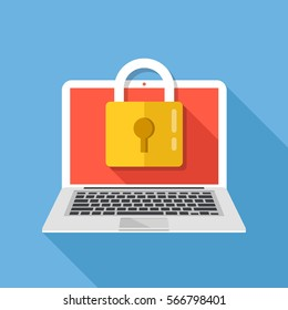 Laptop and lock. Computer security, privacy, password protection concepts. Premium quality. Modern flat design graphic elements. Vector illustration.