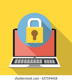 Laptop and lock. Computer security, privacy, password protection concepts.