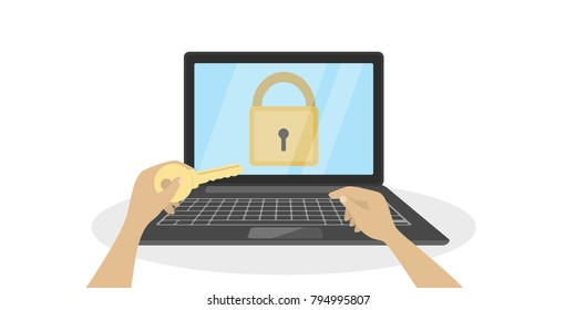 Laptop with lock and hand with key.