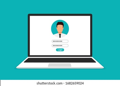 Laptop with login form page on screen. Vector illustration