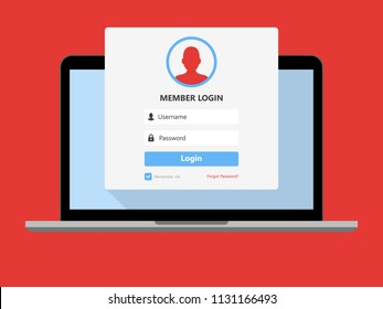 Laptop with login page on screen. Registration page. Modern flat design. Vector illustration