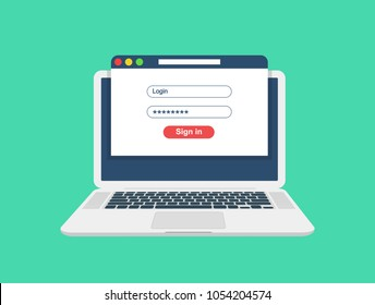 Laptop with login and password form page on screen. Sign in to account, user authorization, login authentication page concept. Username, password fields. Flat design, vector illustration on background