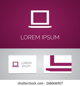 laptop logo template icon design elements with business card