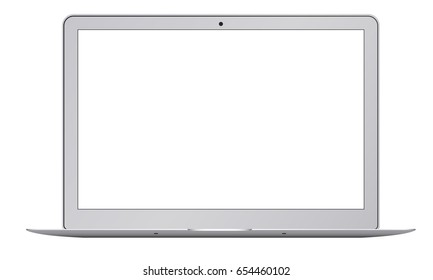 Laptop Macbook Air mockup with blank screen - front view. Open notebook isolated on white background is useful for presenting your designs. Vector illustration