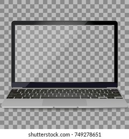 Laptop in Macbook Air style mockup with blank screen - front view.Open laptop with blank screen isolated on transparent background.Silver Laptop front view.Notebook.Laptop - vector illustration.