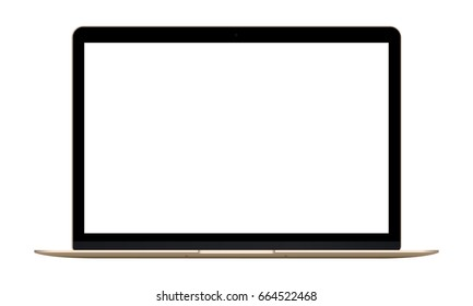 Laptop Macbook gold mockup - front view. Vector illustration