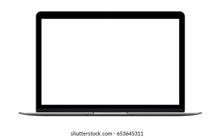 Laptop Macbook mockup isolated on white background. Notebook with blank screen - front view. Vector illustration