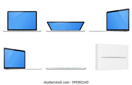 Laptop Macbook Pro in different positions isolated. Notebook opened and closed, laptop in box. Mockups easy to edit and use for showcase your website screenshots, images. Vector illustration