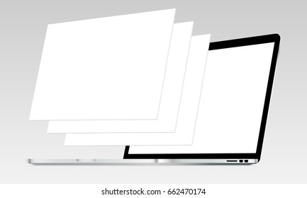 Laptop Macbook Pro mockup with blank screen and blank web wireframing pages. Web design concept for showing responsive web projects. Vector illustration