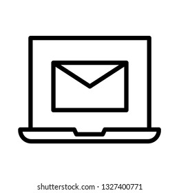 laptop mail line icon