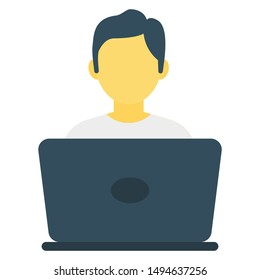 laptop with man for business work flat icon