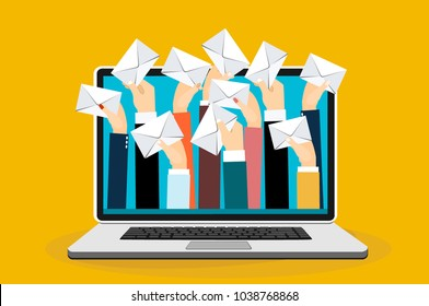Laptop with many hands holding envelopes messages. Email concept. Businessman receiving email. Vector flat design illustration.