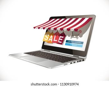 Laptop as marketplace - computer e-commerece concept - big sale