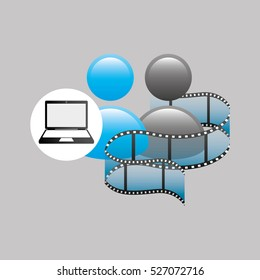 laptop media player  film vector illustration eps 10