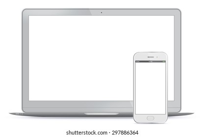 Laptop and Mobile Phone Vector Illustration.