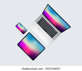 Laptop Mobile Tablet Device Set From Top Technology Illustration