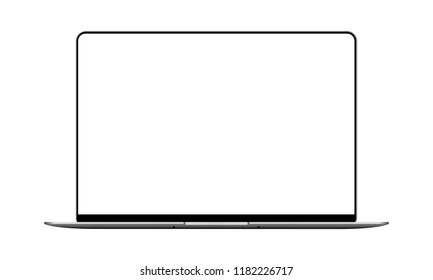 Laptop mock up with blank frameless screen - front view. Vector illustration