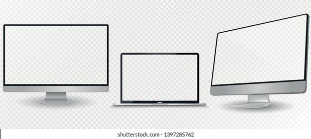 Laptop mockup with blank screen. Computer mockup set.