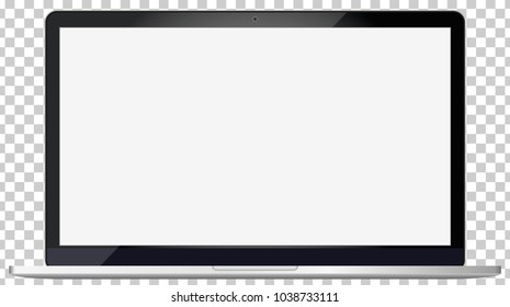 Laptop mockup with blank screen - front view.Open laptop with blank screen isolated on transparent background