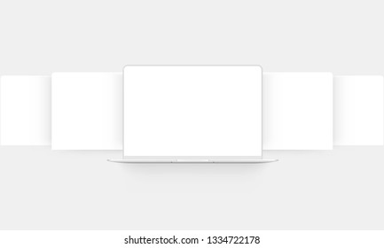 Laptop mockup with blank web wireframing pages - front view. Modern concept for showcasing web-design projects. Vector illustration