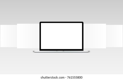 Laptop mockup with blank web wireframing pages. Web design concept to showcasing your web sites screenshots. Vector illustration