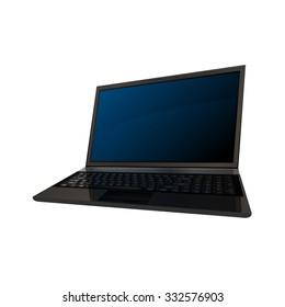 Laptop, modern computer detailed realistic vector illustration