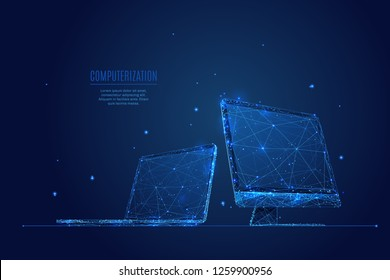 Laptop and Monitor. Computers themes in low-poly wireframe starry sky and cosmos style. Technology and devices concept. Abstract vector computerization theme in blue color. Devices polygonal theme