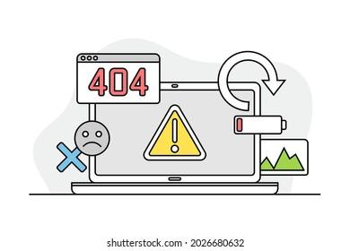 Laptop Monitor with Error and Low Battery Charge as Programmed Machine for Operation Vector Illustration