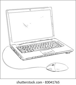 Laptop with mouse cartoon sketch vector illustration