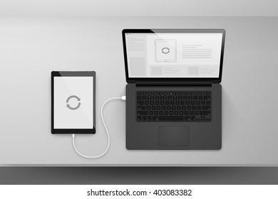 Laptop or notebook black design mock up sync data with tablet by cable on table illustration