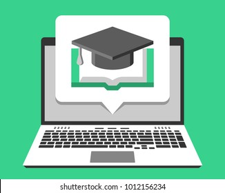 Laptop and online education icon on its screen in pop-up bubble. Vector illustration in flat design style