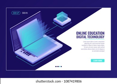 laptop with open book, learning online education concept, electron library, information searching isometric vector
